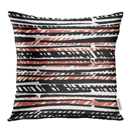 - ARHOME Black Ethnic Abstract Retro Colors Stripes Pattern Lines White Vertical Boho Pillowcase Cushion Cover 20x20 inch