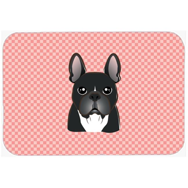 Checkerboard Pink French Bulldog Mouse Pad, Hot Pad Or Trivet, 7.75 x 9.25 In.