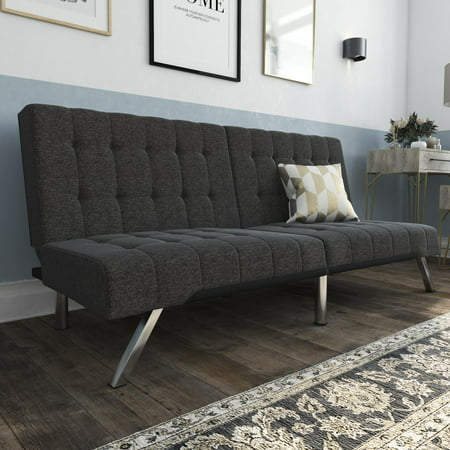 Phenomenal Dhp Emily Convertible Futon Sofa Couch Gray Linen Short Links Chair Design For Home Short Linksinfo