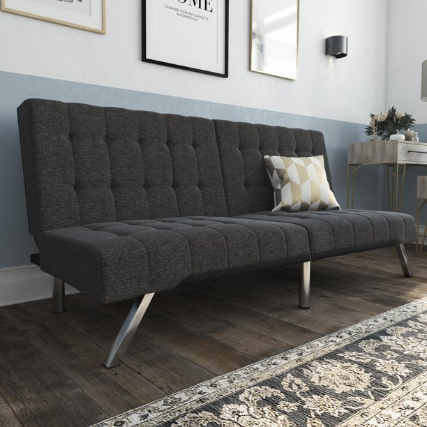 DHP Emily Convertible Tufted Futon Sofa, Gray Linen