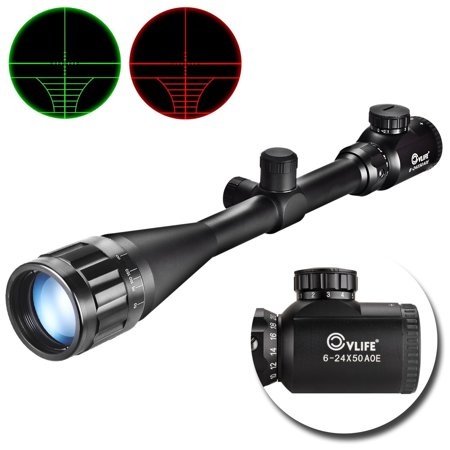 Cvlife Optics Hunting Rifle Scope 6-24x50 AOE Red & Green Illuminated Crosshair Gun Scopes With Free -