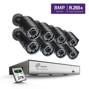 Loocam Ultra HD 4K 2TB Wired Security System with 8x 8MP Bullet Cameras (3840 x 2160), 150ft Night Vision, Weatherproof CCTV Camera with 36pcs IR LEDs & 2TB