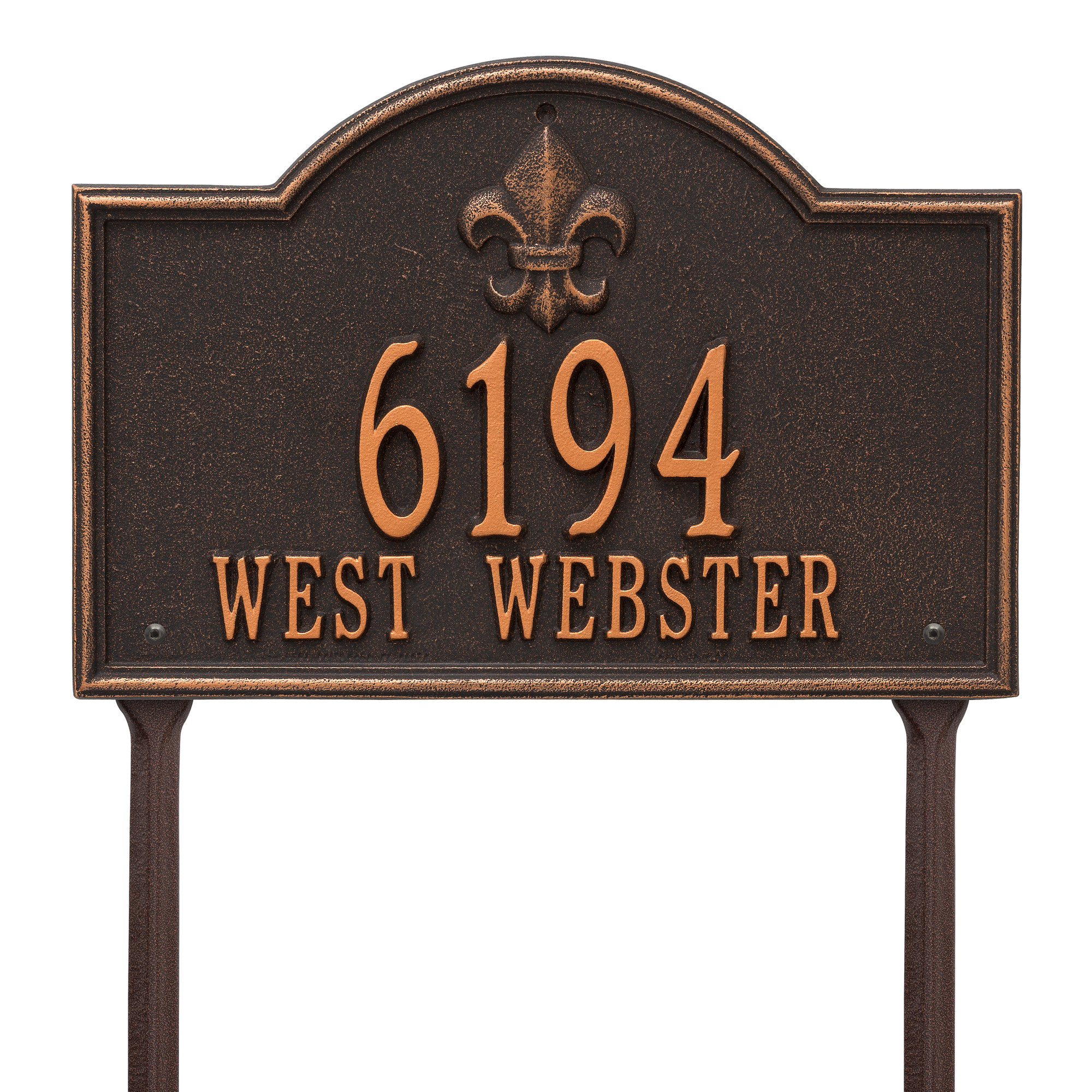 Personalized Whitehall Products Bayou Vista Standard Lawn House Numbers Plaque in Oil Rubbed Bronze