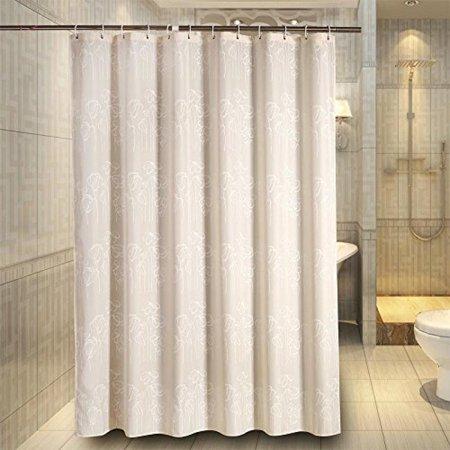 Welwo Water Repellent Waterproof Fabric Shower Curtain Liner Set Mildew Free