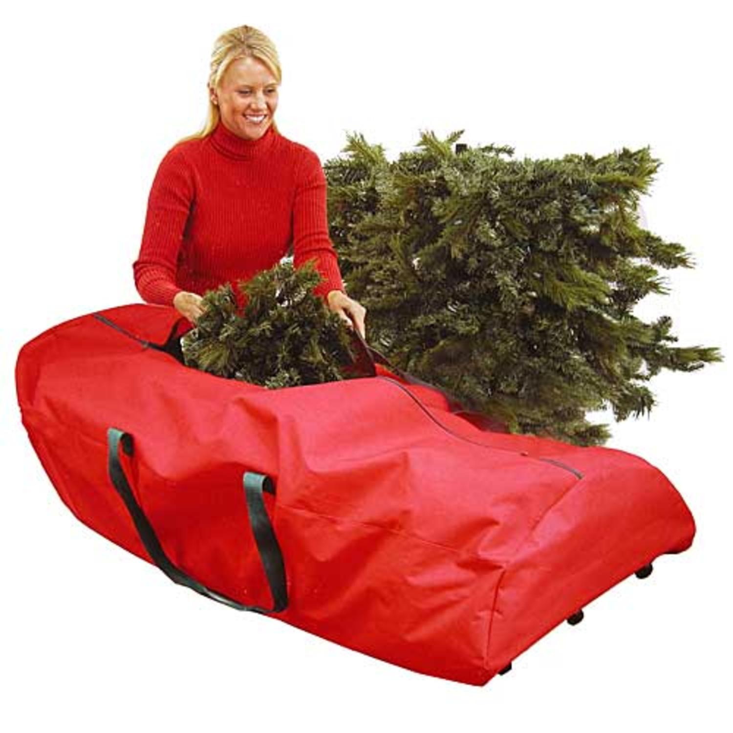 "56"" Heavy Duty Large Red Rolling Artificial Christmas Tree Storage Bag for 7.5' Trees"