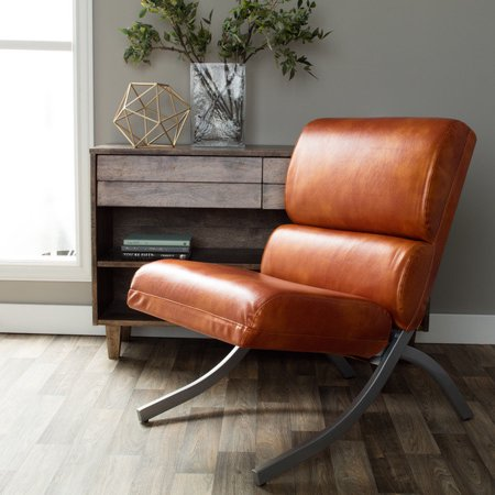 Rust Colored Faux Leather Accent Chair Beautiful Modern Waiting Or Living R