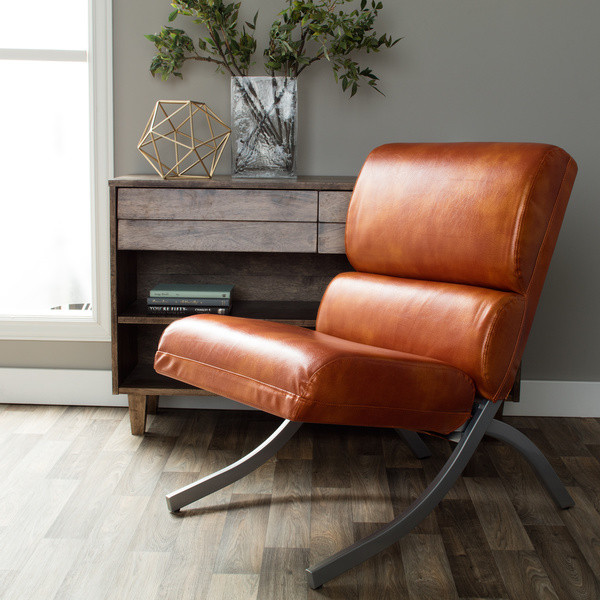 Rust Colored, Faux Leather Accent Chair, Beautiful Modern Waiting or Living R...