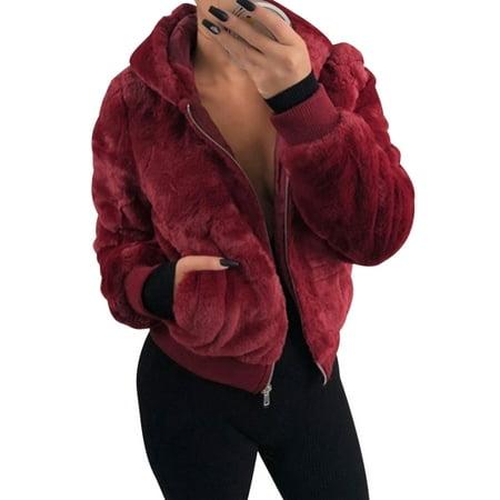 Women Hoodie Short Crop Faux Fur Fleece Coat Jacket Outwear Ladies Hooded Long Sleeve Fashion Zipper Short Sweatshirt Sweater Tops