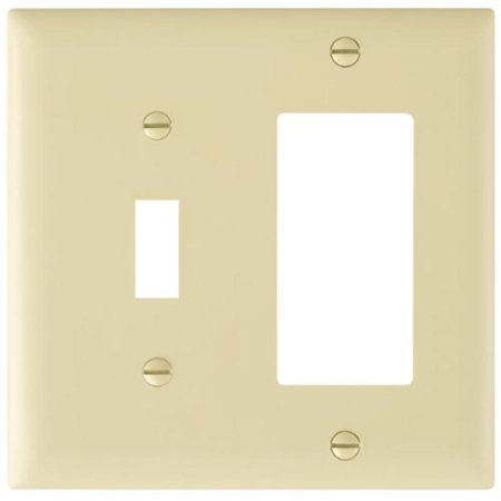 Ivory Wall Plate Two Gang Toggle And Single Duplex Without Line Pass and Seymour