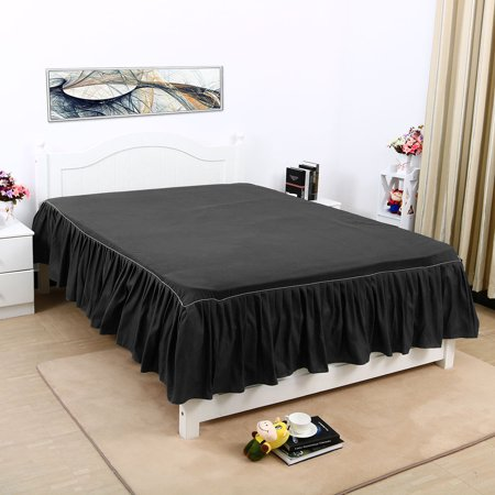 Pleated Bed Skirts Polyester Solid Dust Ruffle 14 Inch Drop Black, Twin