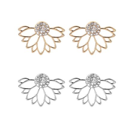 2 Pairs Unisex Hollow Flower Pattern Shiny Rhinestone Alloy Earring Modern Girls Ear Studs - Flower Pattern Rhinestone