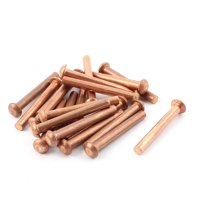"Uxcell 3/16"" Dia. 1 37/64"" L Shank Round Head Copper Solid Rivets Fasteners (20-pack)"