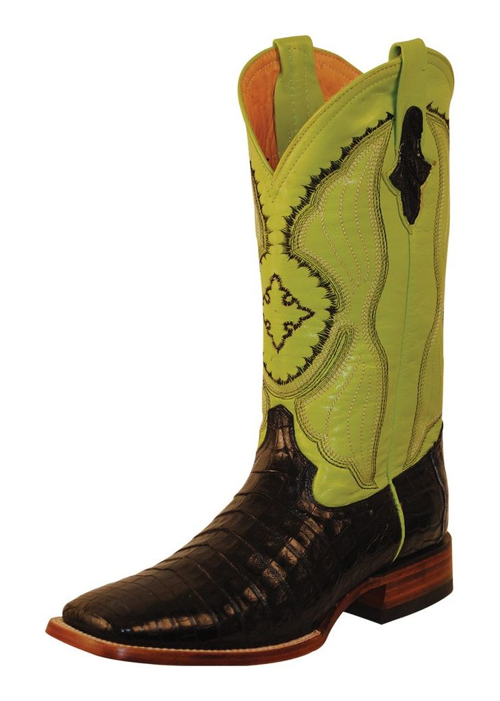 Ferrini Western Boots Mens Belly Caiman Croc Black Lime 12493-04 by Ferrini