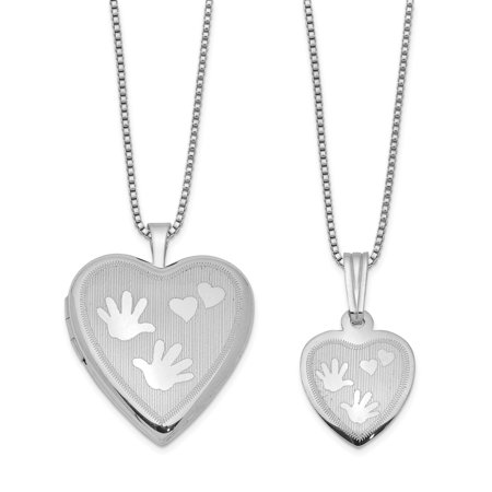 Sterling Silver Rhodium-plated Satin Hand and Hearts Locket & (One Tree Hill Locked Hearts And Hand Grenades)