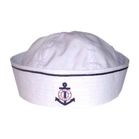 Toddler Baby Sailor Hat with Embroidered Anchor and Pinstripe (Small, White with Blue Pinstripe) - Sailor Hats Party City