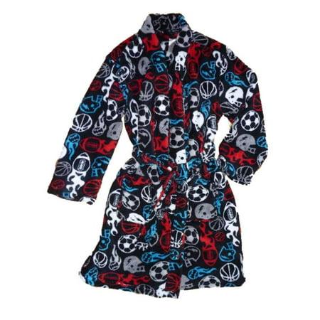 Joe Boxer Boys Black Plush Red & Blue Sports Fleece Bath Robe House Coat X-Small