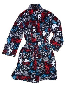 Product Image Joe Boxer Boys Black Plush Red   Blue Sports Fleece Bath Robe  House Coat X- 54ebdf5b4
