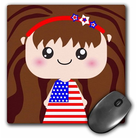 3dRose Cute Kawaii Cartoon Patriotic Girl wearing American Flag Dress for July 4th Independence Day, Mouse Pad, 8 by 8 inches