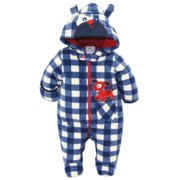 Duck Goose Baby Boys Plaid Print Cute Pappy Plush Footed Ear Pram Puffer Snowsuit