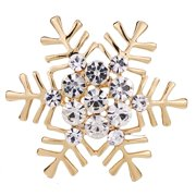 Women Luxury Fashion Christmas Xmas Gift Silver Snowflake Brooch Rhinestone Crystal Broach Clothing Accessories