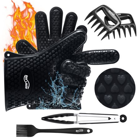 Housmile BBQ Set Meat Shredding Claws Cooking Gloves Silicone BBQ Grilling Glove for Kitchen Pizza Cooking, Silicone Brush Kitchen tong Barbecue (Bbq Grilling Tools)