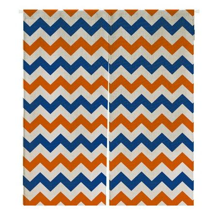 GCKG Navy Deep Blue Orange Chevron Doorway Curtain Japanese Noren Curtains Door Curtain Entrance Curtain Size 105x120cm