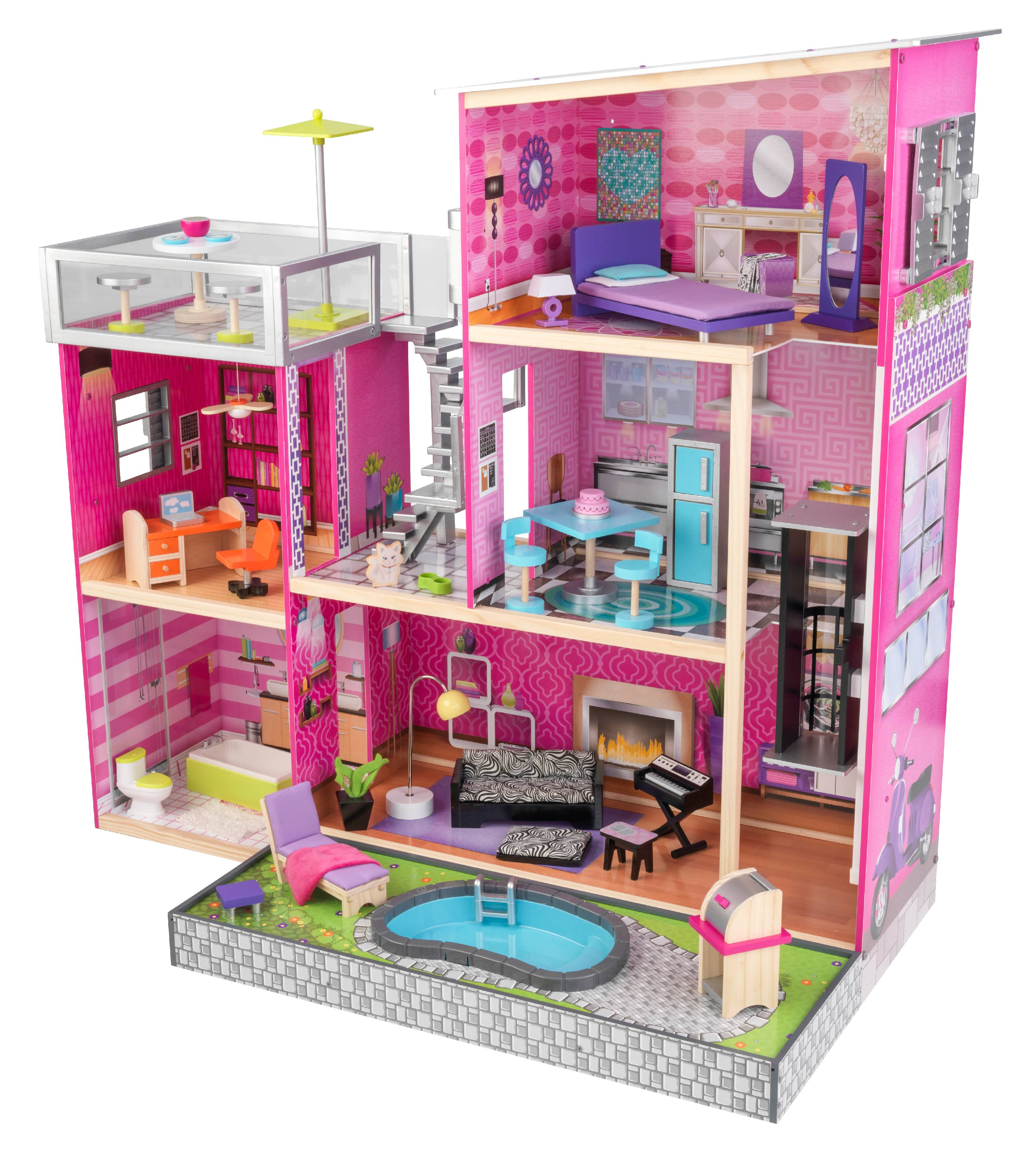 Kidkraft uptown dollhouse with 36 accessories ebay for Lit kidkraft