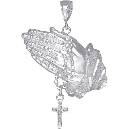 Sterling Silver Praying Hands with Rosary Cross Pendant Necklace Diamond Cut Finish and 24 Inch Chain Rosary Chain Pendant