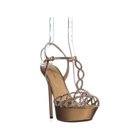- Womens Sergio Rossi A09080 Platform T Strap Sandals, Nude/Silk
