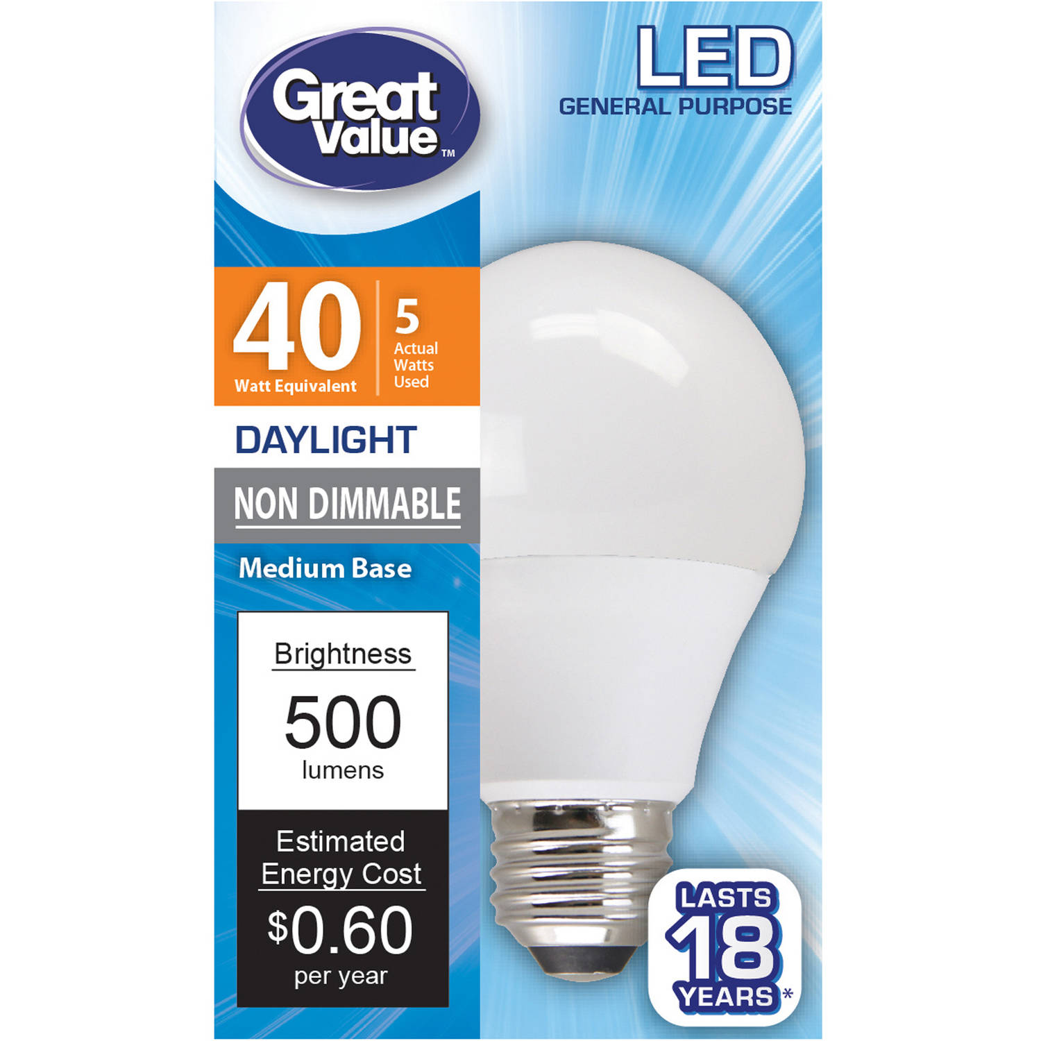 Great Value LED Light Bulb, 5W (40W Equivalent), Daylight, A19