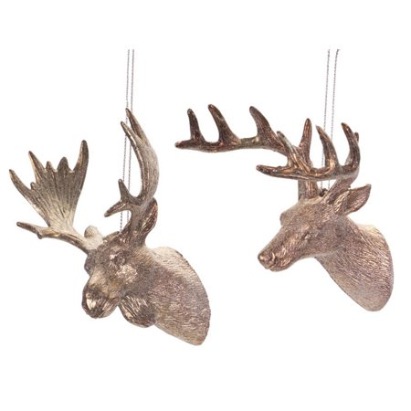 Pack of 24 Bronze-Tone Glittered Deer and Moose Head Christmas Ornaments 5