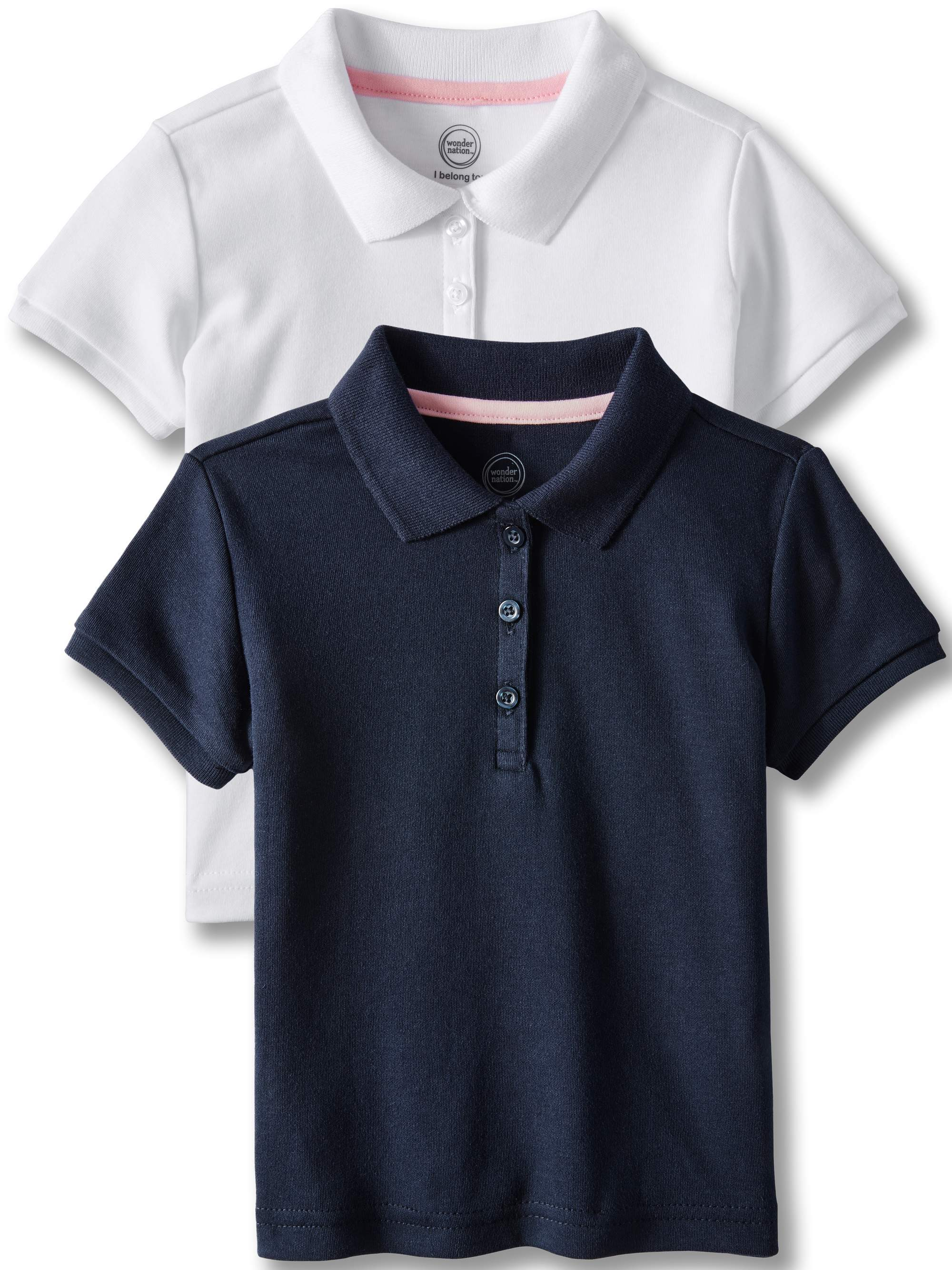 Toddler Girls School Uniform Short Sleeve Interlock Polo, 2-Pack Value Bundle
