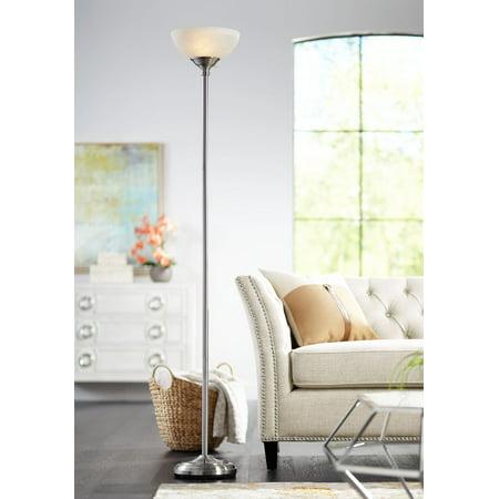 360 Lighting Modern Torchiere Floor Lamp Tall Satin Nickel Slim Profile Alabaster Glass Shade for Living Room Bedroom Uplight