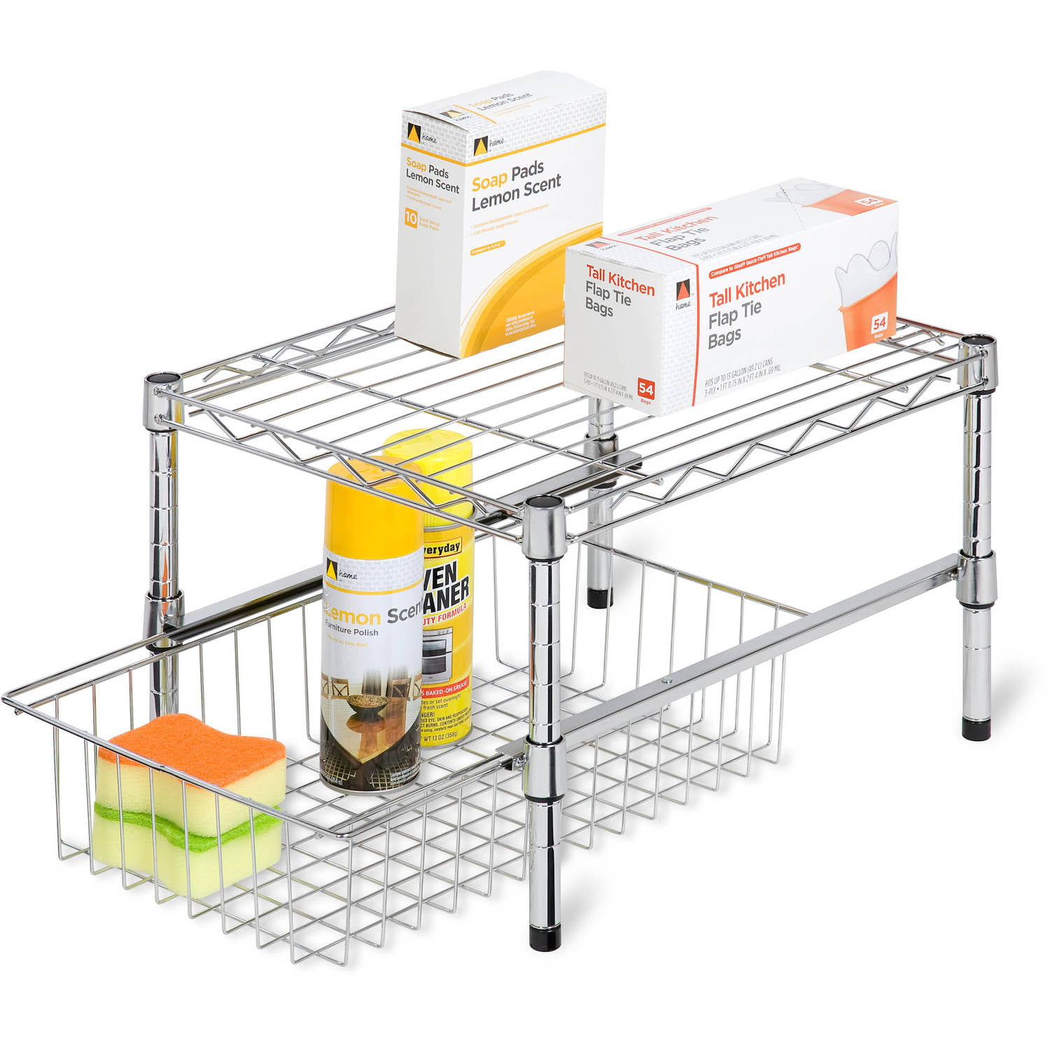 Honey Can Do Adjustable Shelf With Under Cabinet Organizer, Chrome    Walmart.com