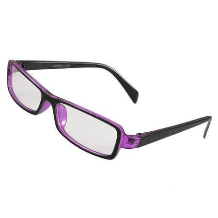 Woman Black Clear Purple Plastic Full Rim Rectangular Lens Spectacles Eyewear