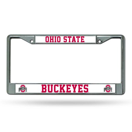 Ncaa License Plate Frame (Ohio State Buckeyes Official NCAA 12 inch x 6 inch  Chrome License Plate Frame by Rico Industries)