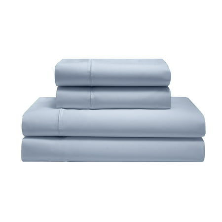 CAL KING LIGHT BLUE SILKY SOFT COTTON SOLID SHEET SET Empress Silk Cotton Sheet Set