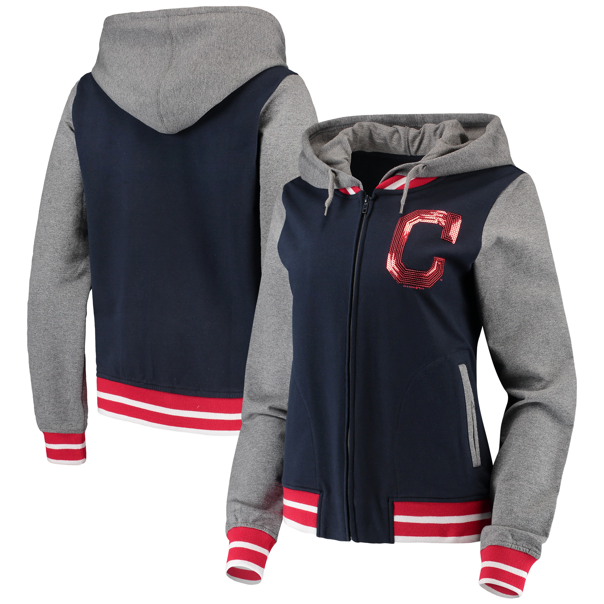 Cleveland Indians 5th & Ocean by New Era Women's French Terry Full-Zip Hoodie - Navy/Heathered Gray