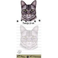 """Gray Tabby Cat Magnetic List Pads"" Uniquely Shaped Sticky Notepad"