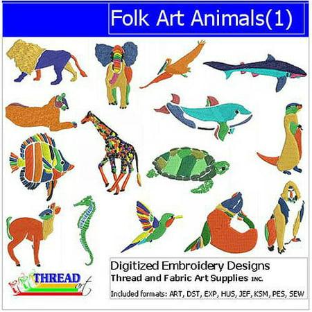 ThreadArt Machine Embroidery Designs Folk Art Animals Version 1 CD