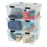 IRIS USA 54 Qt Clear Plastic Storage Box with Latches, 6 Pack