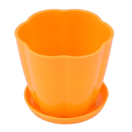 Home Garden Plastic Table Decoration Flower Plant Pot Planter Holder Orange