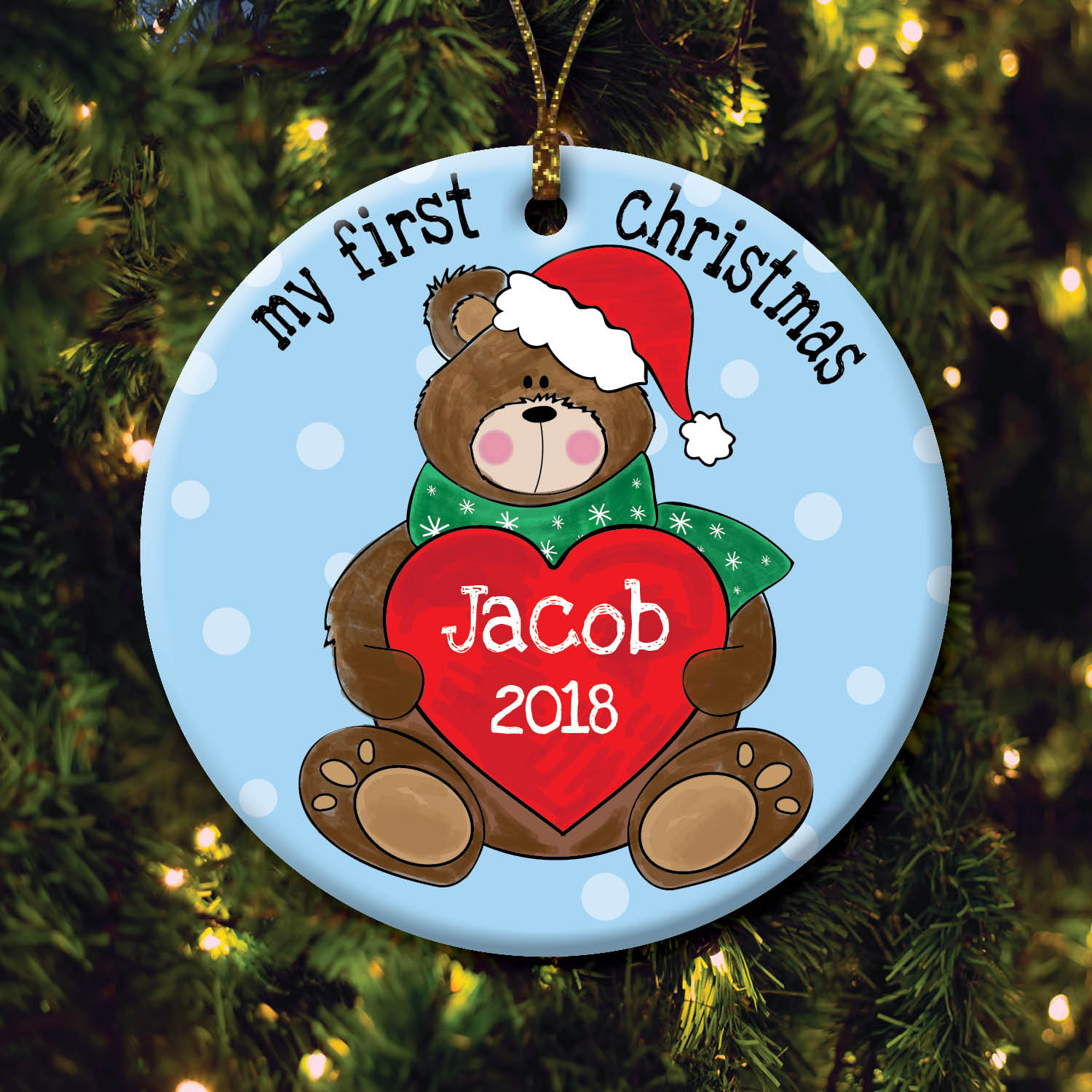 Boy's First Christmas Personalized Ornament
