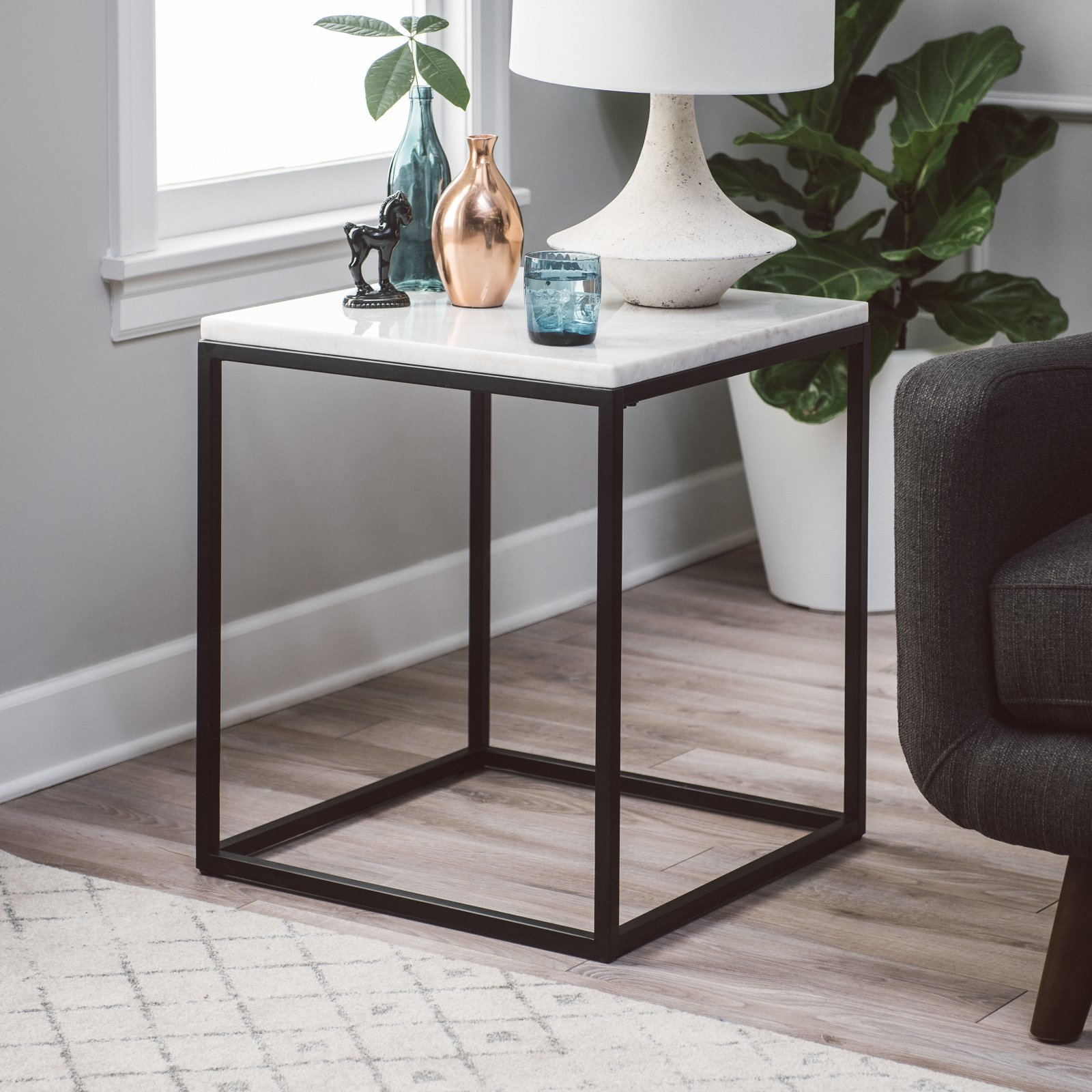 Belham Living Sorenson Square End Table with Marble Top