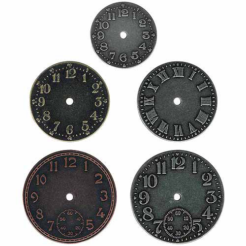 "Idea-Ology Timepieces Clock Faces, 1.25"" To 1.75"", 5/pkg, Antique Nickel, Brass & Copper"