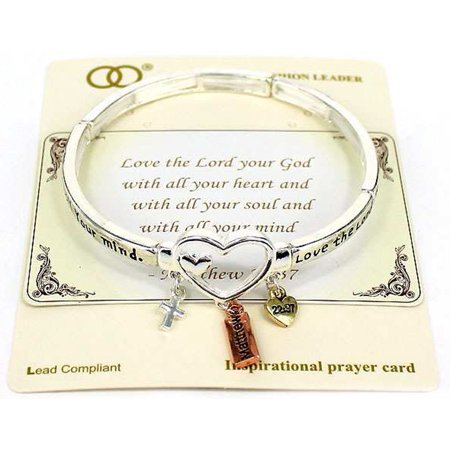 Matthew 22:37 Love the Lord 3 Tone Cross Heart Charm Inspire Bracelet Prayer Card Jewelry Nexus - Inspired By Charm