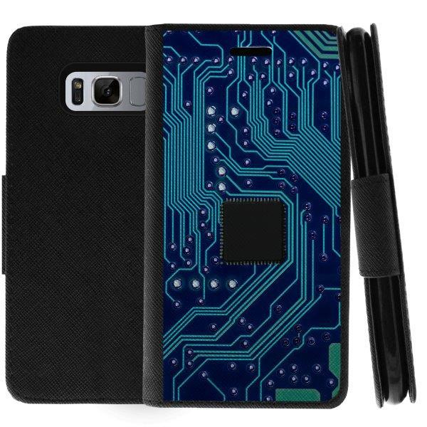 TurtleArmor ® | For Samsung Galaxy S8 Active G892 [Wallet Case] Leather Cover with Flip Kickstand and Card Slots - Phone Circuit Board