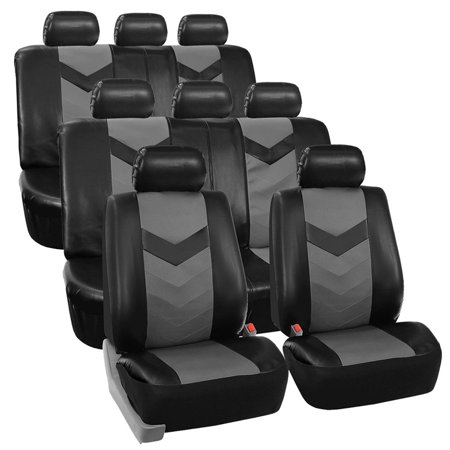 FH Group Faux Leather Synthetic Leather Auto Seat Cover, 8 Seater SUV VAN Full Set, Black and Gray