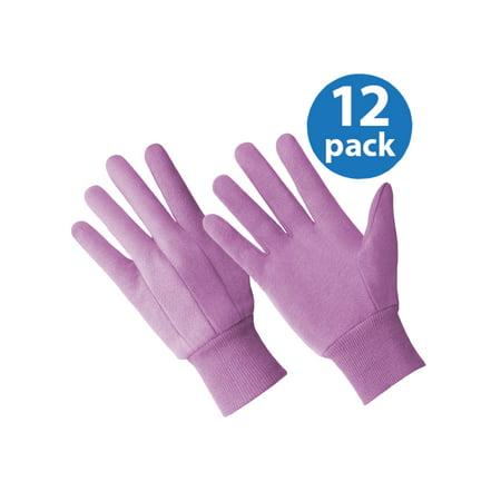 CT7204-12PK, Ladies Cotton Rich Jersey Glove, PURPLE, 12 Pair Value Pack Lamont Cotton Jersey Gloves