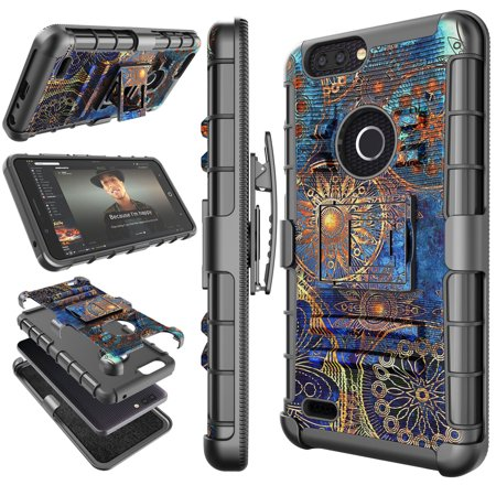 ZTE Blade Z Max Case, 2017 ZTE Zmax Pro 2 Holster Clip, ZTE Sequoia Cover, Tekcoo [Hoplite] Shock Absorbing [Camo Relic] Swivel Locking Belt Defender Heavy Full Body Kickstand Carrying (Custom Heavy Relic)